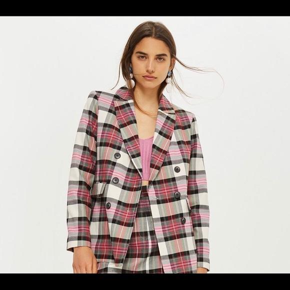 Topshop Jackets & Blazers - Topshop pink plaid blazer size 6